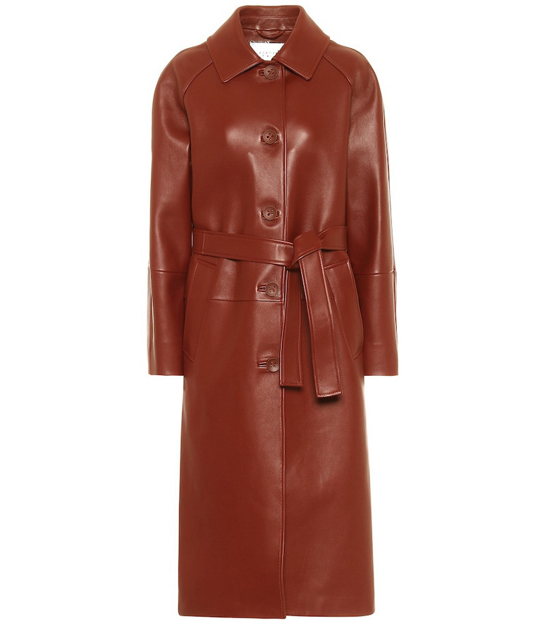 Common Leisure Slow Dance belted leather coat in brown