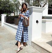 dress,plaid dress,slit dress,blue dress,bag,short dress