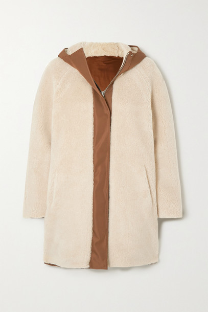Loro Piana - Reversible Hooded Cashmere And Silk-blend Fleece And Matte-satin Coat - Cream