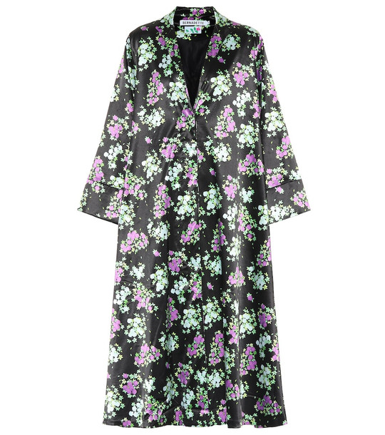 Bernadette Sofia floral satin coat in black