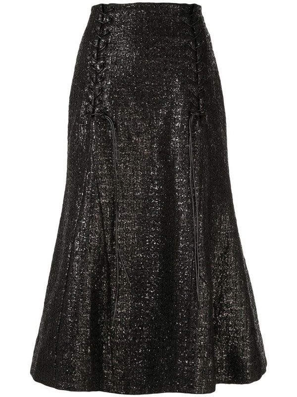 Olivier Theyskens metallic fishtail skirt in black