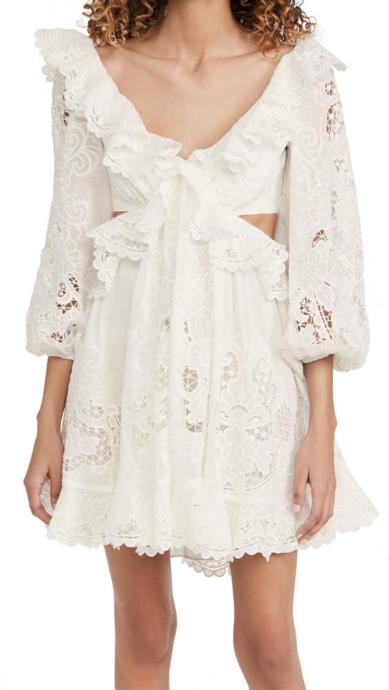 Zimmermann Lulu Scallop Mini Dress in ivory