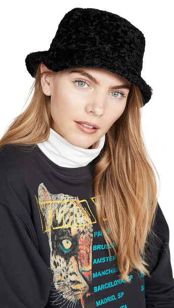 Kate Spade New York Shearling Bucket Hat in black