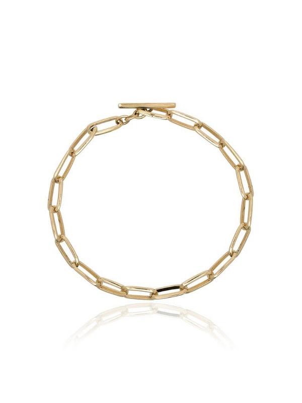 Lizzie Mandler Fine Jewelry yellow gold knife edge chain link bracelet in metallic