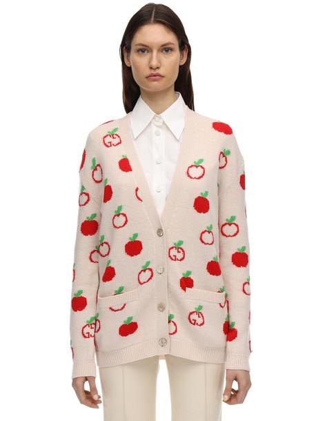GUCCI Gg & Apple Wool Intarsia Knit Cardigan in ivory / multi