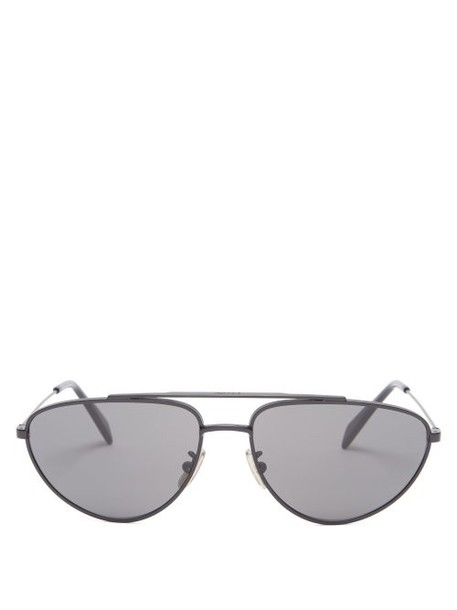 Celine Eyewear - Aviator Metal Sunglasses - Womens - Black