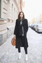 carolines mode,blogger,shoes,coat,sweater,bag,scarf