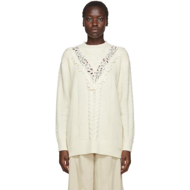 See by Chloe Off-White Wool Lace Oversized Sweater