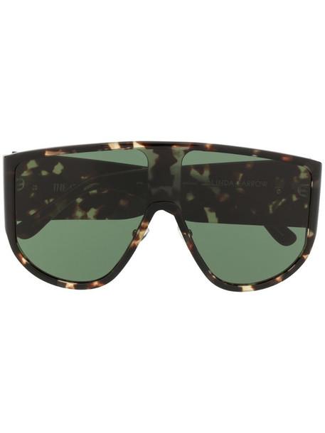 Linda Farrow tortoiseshell visor sunglasses in brown