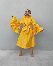 dress,maxi dress,yellow dress,sandal heels,long sleeve dress