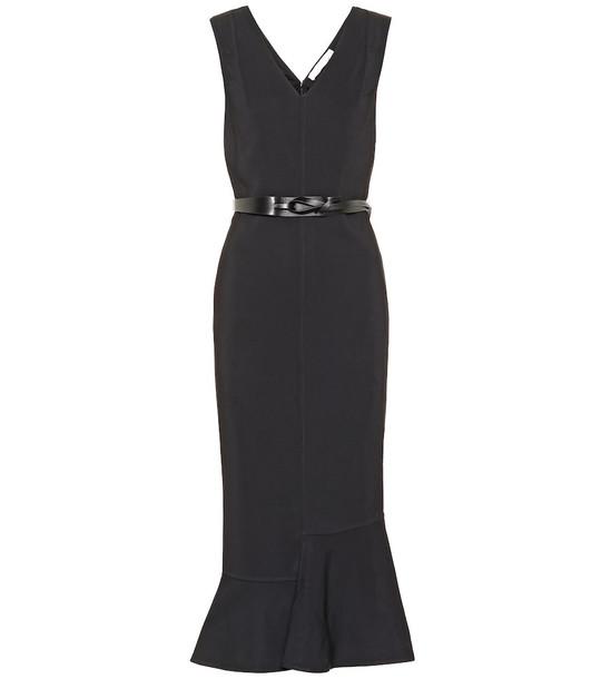 Victoria Beckham Belted crêpe dress in black