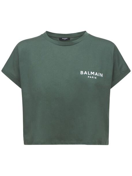 BALMAIN Cropped Flocked Logo Cotton T-shirt in white
