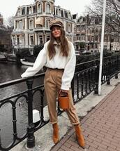 pants,high waisted pants,brown boots,heel boots,bucket bag,brown bag,white sweater,beret