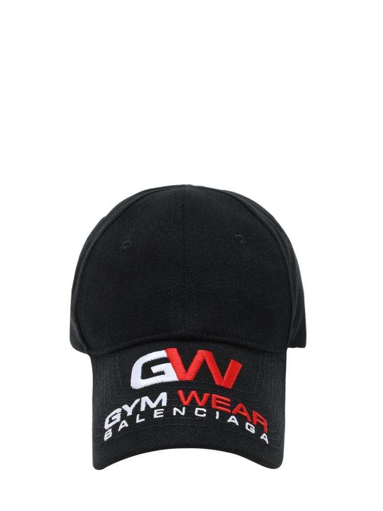 BALENCIAGA Logo Embroidery Cotton Baseball Hat in black / red