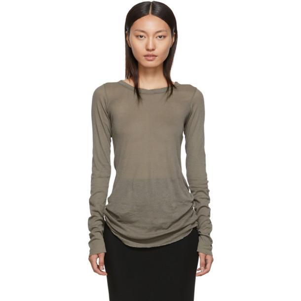 Rick Owens Grey Rib Long Sleeve T-Shirt