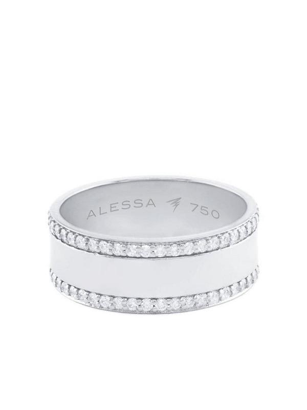 Alessa 18kt white gold diamond Spectrum Border ring in silver