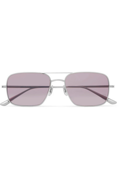 The Row - Oliver Peoples Victory La Aviator-style Titanium Sunglasses - Silver