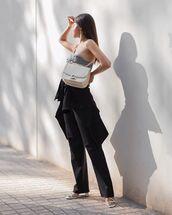 bag,white bag,white sandals,black pants,black blazer,plaid,sleeveless top
