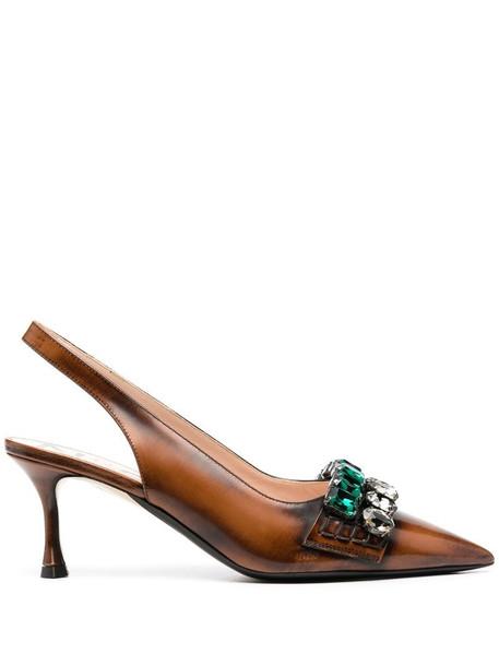 Nº21 crystal-embellished slingback pumps in brown