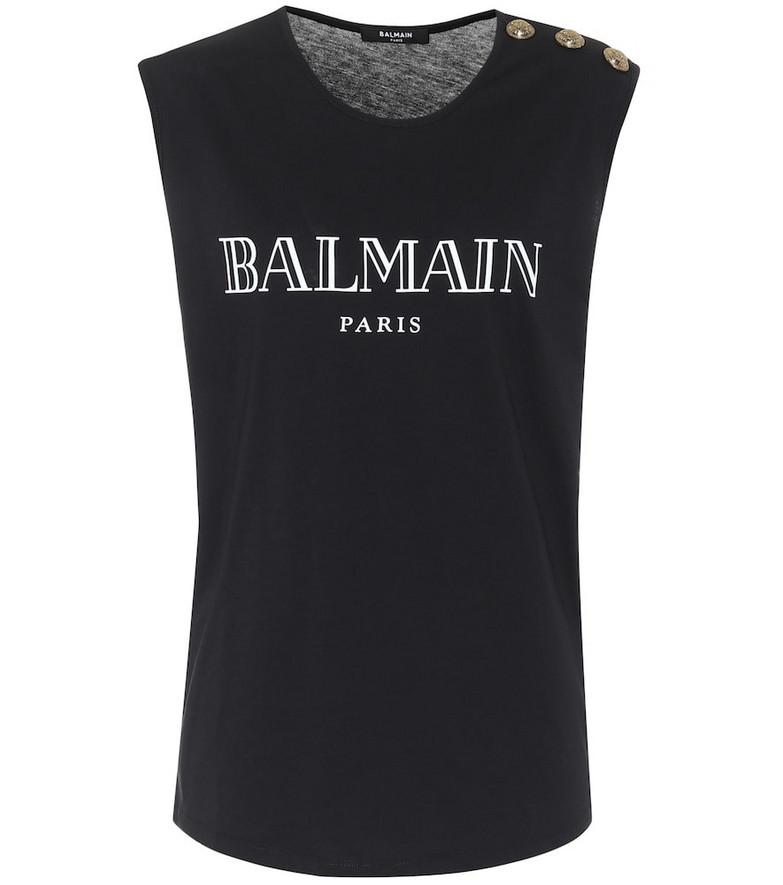 Balmain Cotton-slub tank top in black