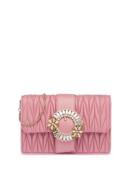 Miu Miu matelassé crystal clasp chain clutch in pink