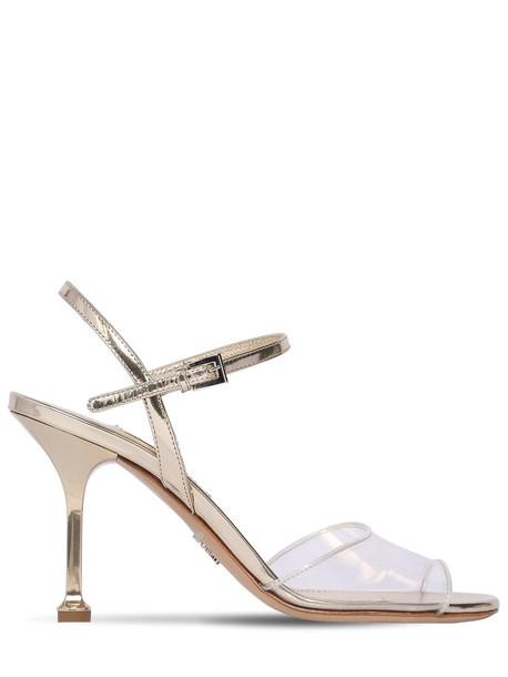 PRADA 90mm Plexi & Metallic Leather Sandals in gold