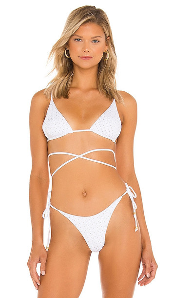 L*SPACE Kara Bikini Top in White