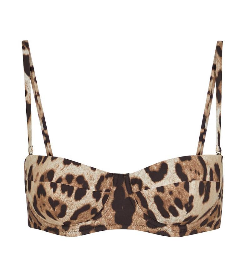 Dolce & Gabbana Leopard-print bikini top in beige