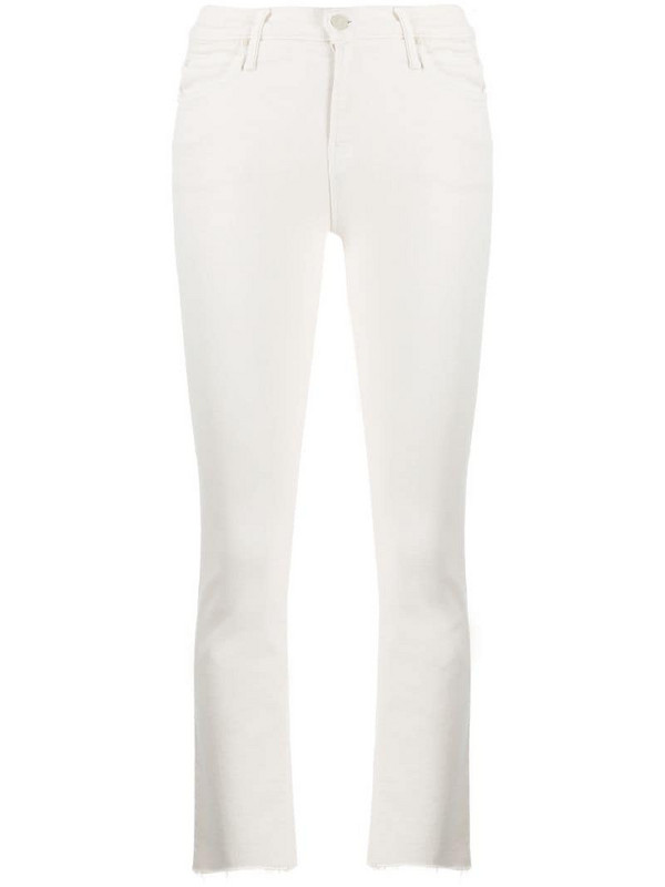 Mother flared cropped jeans in neutrals