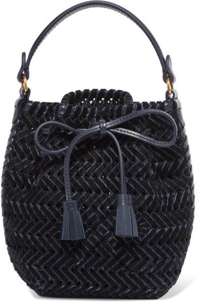 Anya Hindmarch - The Neeson Mini Leather-trimmed Woven Velvet Bucket Bag - Navy