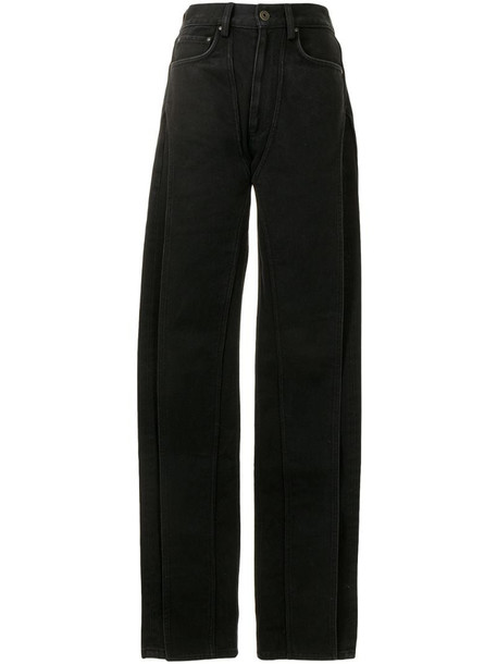 Y/Project high-rise straight leg jeans in black