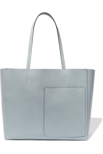Valextra - Shopping Textured-leather Tote - Blue