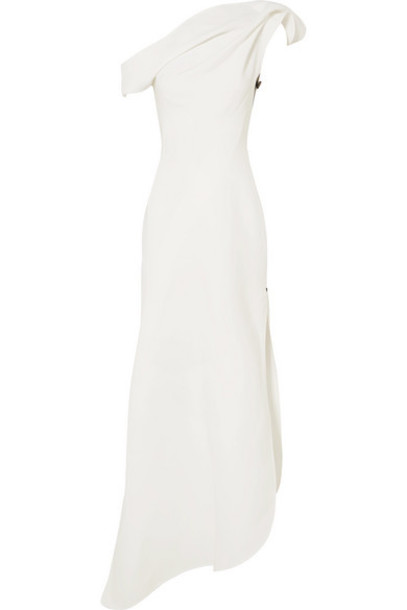 Maticevski - Slinger One-shoulder Asymmetric Cady Gown - White