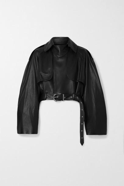 Khaite - Krista Oversized Belted Leather Jacket - Black