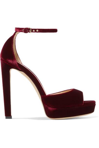 Jimmy Choo - Pattie 130 Velvet Platform Sandals - Merlot