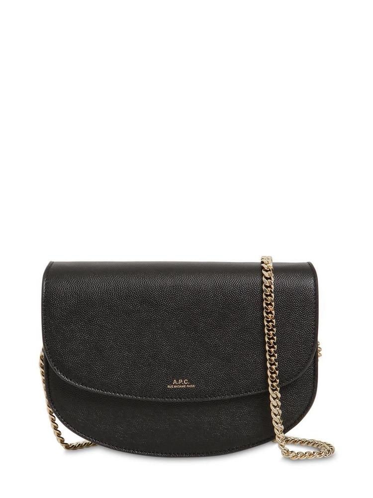 A.P.C. Genève Grained Leather Shoulder Bag in black