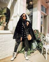 shoes,lace up boots,white boots,combat boots,black leather pants,faux fur coat,black coat,black shirt,polka dots,crossbody bag,brown bag