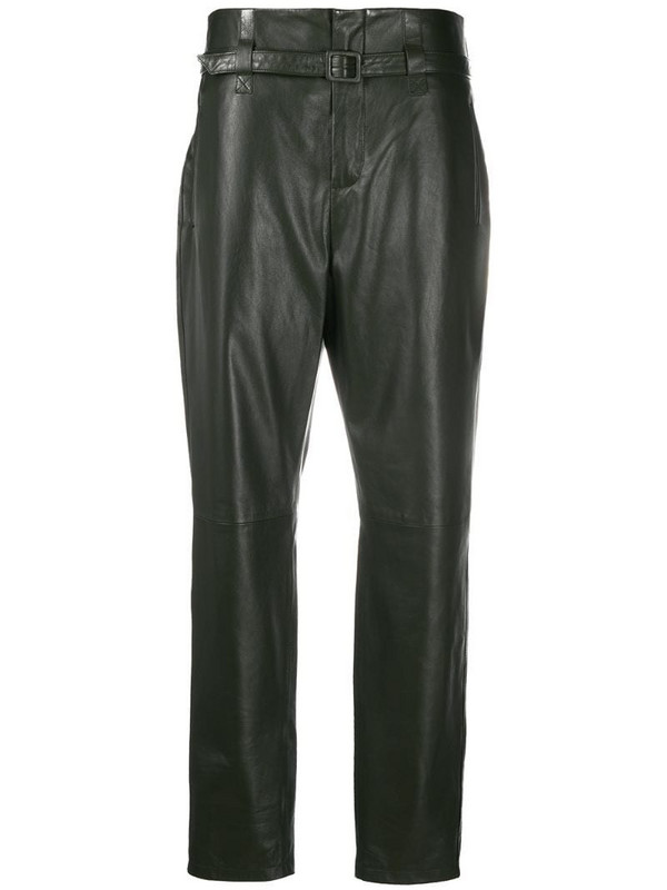 Simonetta Ravizza high-waist belted leather trousers in green