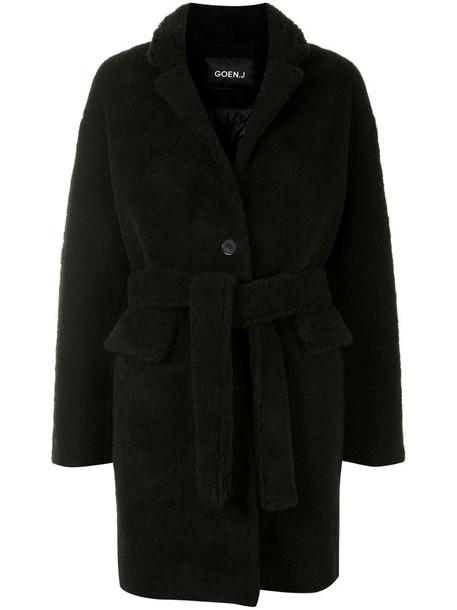 Goen.J textured tie-waist coat in black