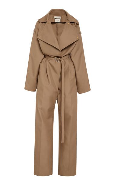 Bottega Veneta Belted Full-Length Twill Jumpsuit in neutral