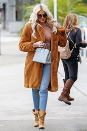 coat,jeans,denim,fur,fur coat,khloe kardashian,kardashians,boots,fall outfits,faux fur coat