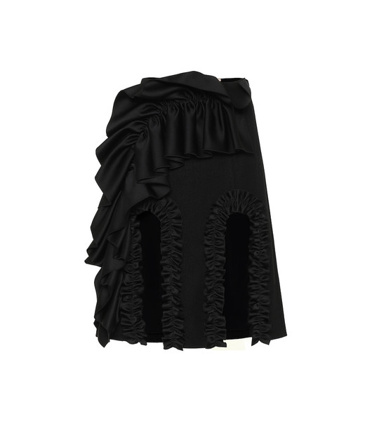 Christopher Kane Ruffle-trimmed cotton-blend skirt in black