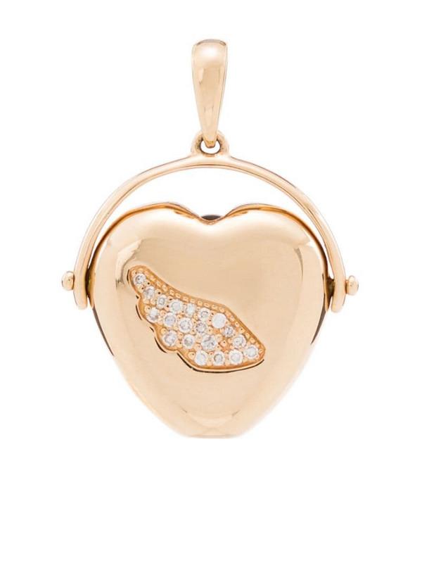 Loquet 14kt yellow gold diamond heart pendant
