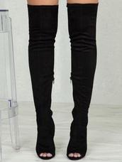 shoes,thigh high boots,stilettos,black,boots