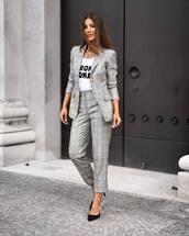 jacket,plaid jacket,plaid blazer,plaid,straight pants,grey pants,pumps,white t-shirt