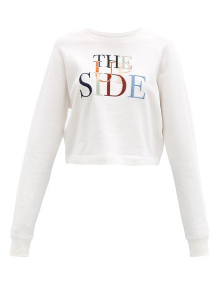 The Upside - Faith Logo-embroidered Cotton-jersey Sweatshirt - Womens - White Print