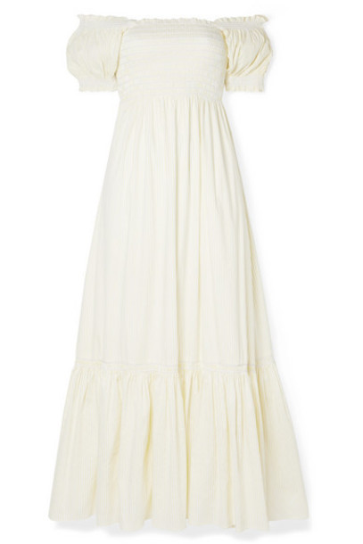 La Ligne - Arielle Shirred Striped Cotton-blend Poplin Maxi Dress - White