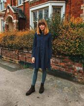 dress,shirt dress,navy dress,long sleeve dress,tights,ankle boots,brown boots,lace up boots