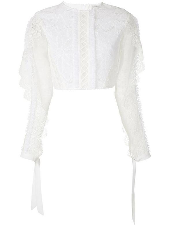 Martha Medeiros Ariella ruffle appliqué blouse in white