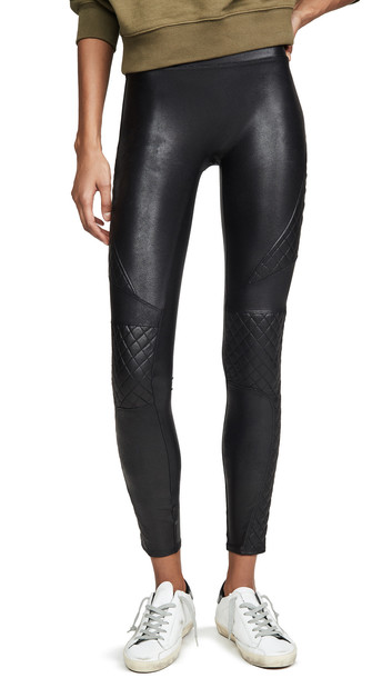 SPANX Quilted Faux Leather Leggings in black
